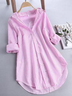 ZHI Chic Stripe Long Sleeve Turn-down Collar Loose Shirts Cheap - NewChic Mobile Kurta Designs, Blouse Designs, Style Outfits, Casual Outfits, Loose Shirts, Long Sleeve Shirts, Women's Shirts, Stylish Dresses, Fashion Dresses