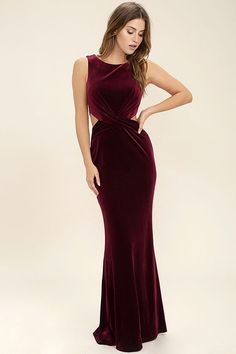 Lulus Exclusive! Whatever the occasion, the Reach Out Burgundy Velvet Maxi Dress is always calling our name! This sleek and stretchy velvet maxi dress starts off with a rounded neckline and fitted bodice, while a gathered waist transitions into sexy side cutouts. Figure-flaunting maxi skirt with hidden back zipper/clasp.
