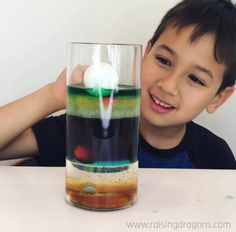 This liquid density experiment is a classic, kitchen science experiment that is easy to pull together from objects you have around the house and will amaze! Summer Camp Crafts, Camping Crafts, Kid Crafts, Toddler Learning Activities, Science Activities, Science Centers, Preschool Science, Science Education, Kids Education