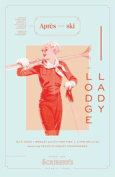 Scribner's Catskill Lodge #scribners #catskill #lodge #design #studio #color #apresski #poster #miafabbri #scribnerscastskilllodge #lady #skibunny
