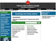 Find Your Canadian Ancestors at 12 Top Online Databases: Library and Archives Canada: Canadian Genealogy Centre