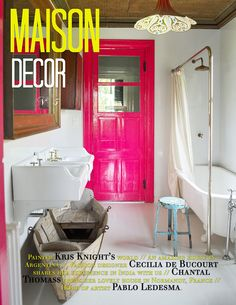 Luv the boat in bathroom_pink door + overhead fixture & ceiling tin tiles  MAISON DECOR