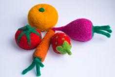 Conjunto de vegetales y frutas juguetes de lana de por WooolyWool