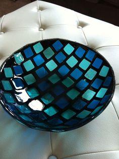 Blue Fused Glass Bowl by SeaShellsGlass on Etsy, $200.00