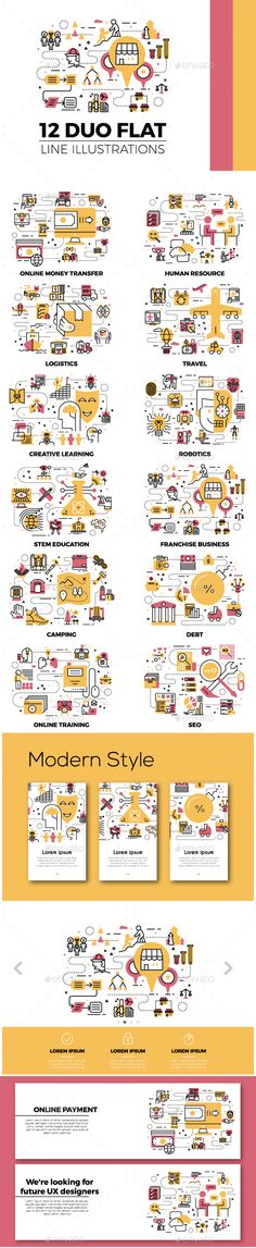 12 Flat Line Web Banner Illustration