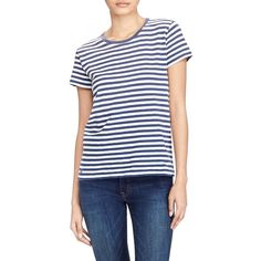 Polo Ralph Lauren Striped Crewneck Tee ($68) ❤ liked on Polyvore featuring tops, t-shirts, polo ralph lauren t shirts, stripe tee, blue tee, striped crew neck t shirt and crew t shirt