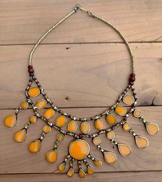 Bib necklace Afghan ethnic-tribal-. Yellow onyx statement necklace. Bib necklace.Bohemian Tribal Necklace.Gypsy Neck piece- boho necklace Onyx Necklace, Coin Necklace, Beaded Necklace, Tribal Necklace, Funky Jewelry, Bohemian Jewelry, Vintage Jewelry, Boho, Bohemian Necklace