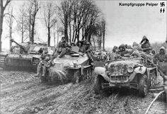 """The Waffen SS was an elite combat group separate from the regular German Army & they had a savage reputation for inhuman cruelty.  By Sunday 17 December, the infamous """"Kampfgruppe Peiper"""" led by Obersturmbannfuhrer Joachim Peiper from the 1st SS Panzer Division """"Leibstandarte Adolf Hitler"""" were slowly pushing their way west through Belgium. This brutal, ruthless group was considered to be the worst of all the SS units."""