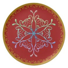 Snow Flake On Red Dinner Plate http://www.zazzle.com/snow_flake_on_red_dinner_plate-115168529473432827?rf=238271513374472230  #Christmas ideas