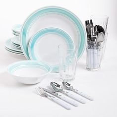 Gibson Home Basic Living 32-Piece Banded Combo Dinnerware Set - Walmart.com