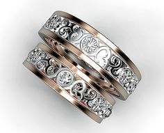 Matching Wedding Band SetHis and Hers Diamond by Vidarjewelry