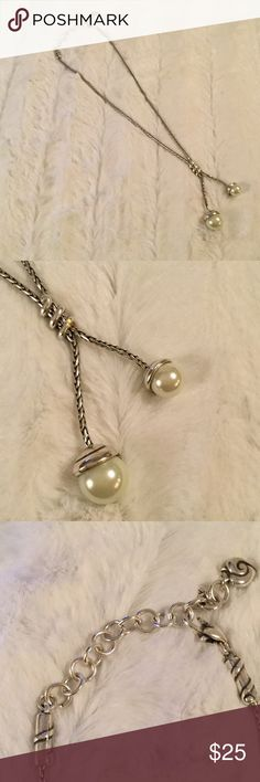 """Brighton silver necklace with faux pearl accents Brighton faux pearl and silver necklace. Approximately 18"""". Pearls drop down about 2"""". Brighton Jewelry Necklaces"""