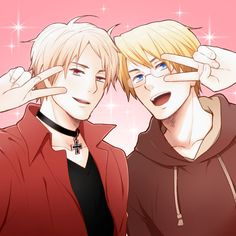 """WE NEED TO SEE THESE TWO TOGETHER MORE OFTEN. (""""明日香 - Hetalia - Prussia / America"""")"""