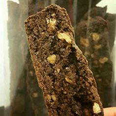 Chocolate Walnut Biscotti - The deep flavour of bittersweet chocolate enhanced with toasted walnuts and a hint of expresso, serves as the perfect coffee bread. Goes great with breakfast milk too! #bakes #breads #biscotti #chocolate #walnut #expresso #toasted #coffee #munchies #snacks #light #breakfast #milk