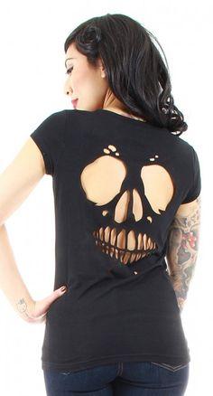 Skull Cutout Roxy Tee - Womens | Blame Betty