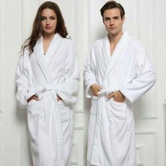 2017 Long Unisex Winter Warm Dressing Gown Women And Men White Robe Cotton  Twist Towel Bathrobe Dressing Gown Bath Robe c04a3ace1