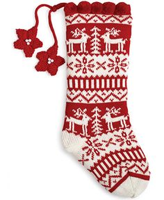 Jabara Nordic Deer Stocking - Stockings & Tree Skirts - Holiday Lane - Macy's