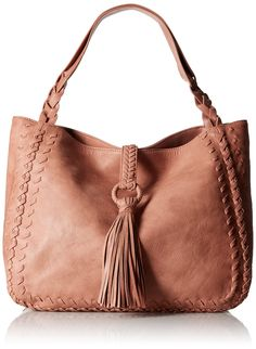 BIG BUDDHA Primo, Melon. Faux-leather tote bag featuring whipstitched trims and tassel accent at front. Braided shoulder strap.