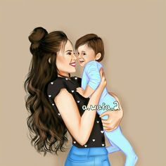 Mother Daughter Art, Mother Art, Mother And Child, Mom Daughter, Sarra Art, Girly M, Cute Cartoon Girl, Girly Drawings, Family Images