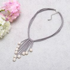 Aobei Long White Freshwater Pearls Grey Leather Necklace Multi Strand Costume Jewelry on Suede Cord - Best Deal From Cap