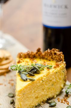 A savoury butternut cheesecake with sesame & cumin crust