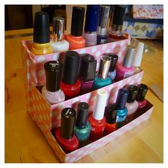 DIY Nail polish rack! I would have to make mine a lot bigger but this would be a great idea!