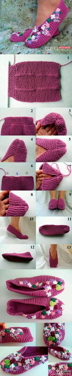 DIY Slippers Pattern looks like my first knitting project I made when I was about ten! Crochet Simple, Knit Or Crochet, Crochet Crafts, Easy Knitting, Loom Knitting, Knitting Socks, Knitting Needles, Knitted Slippers, Crochet Slippers