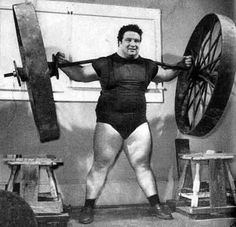 Paul Anderson backlifting 2,840kg (6270 lbs); the greatest weight ever lifted by a human being. Toccoa, Georgia, 1957