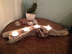 Approx long Bring a piece of the Cornish coast into your house with this beautiful driftwood tea light holder This beautiful piece of wood holds 4 tea lights and will transform any room. Driftwood For Sale, Driftwood Crafts, Pallet Crafts, Diy Wood Projects, Driftwood Centerpiece, Wood Slice Crafts, Horseshoe Crafts, Wood Candle Holders, Meditation Space