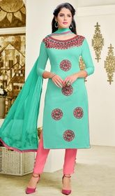 Sea Blue Color Shaded Cotton Pant Style Suit #pantstylesuit#jaipurisuits Bedecked in this sea blue color shaded cotton pant style suit. Beautified with lace and resham work all synchronized well with the trend and design of the attire. USD$ 61(Around £ 42 & Euro 46)