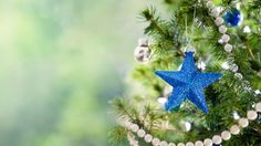 Blue star on the Christmas tree Wallpaper