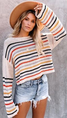Details: Neckline/Collar: Boat neck Long sleeves with drop shoulder Thickness: Regular Closure Type: Pull-On Pattern Type: Striped print Material: Acrylic FIT:Relaxed styleStretch through… Cropped Sweater, Long Sleeve Sweater, Sweater Outfits, Fall Outfits, Trendy Outfits, Pullover Outfit, Winter Mode, Distressed Denim Shorts, Striped Knit