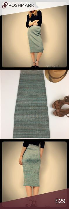 NWOT Free People Figure it Out Knit Skirt In a silky knit, this multi-colored ribbed midi skirt is in a stretchy fabrication with an elastic waistband for an easy fit.  83% Rayon 15% Nylon 2% Spandex Hand Wash Cold Import Free People Skirts