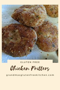 An easy to make Gluten Free chicken fritter that makes for a quick addition to any meal or as a fantastic appetizer. #glutenfreechickenfritter #chickenfritter #glutenfreemeal #chickenfritterglutenfree Gluten Free Kitchen, Gluten Free Cooking, Gluten Free Recipes, Gourmet Recipes, Sweet And Sour Meatballs, Gluten Free Noodles, Recipe Filing, Gluten Free Chicken, Fritters