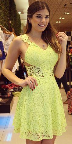 Sexy Backless V-neck Sleeveless Yellow Lace Dress
