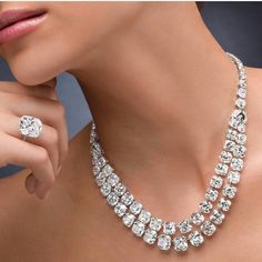 A diamond solitaire necklace with a difference  Two splendid rows of Cushion Cut Diamonds worn with a Matching Cushion Cut Solitaire Ring  @ronaldabram