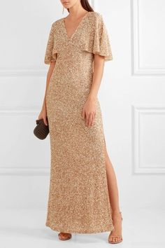 Alice Olivia - Krystina Sequined Tulle Gown - Gold - US