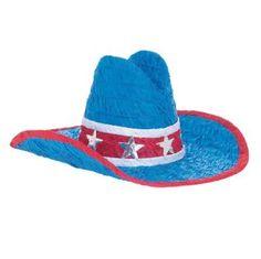 Pinata en forme de chapeau de cowboy bleu