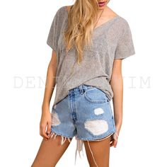 Women's #Vintage #Distressed High Waisted #Ripped Destroyer Stone #Denim
