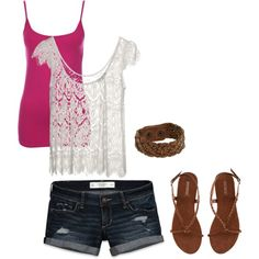 #summer #outfits / Pink Tank Top + Denim Shorts