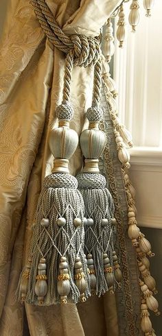Drapery trim and tassels by Samuel and Sons Passementerie. Drapes Curtains, Drapery, Window Drapes, Valances, Window Coverings, Window Treatments, Samuel And Sons, Shabby, Passementerie