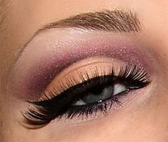 cut-crease nude and maroon purple sparkles eye shadow makeup