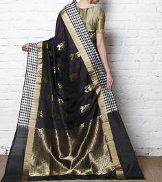 Black Pure Silk Saree With Zari Work