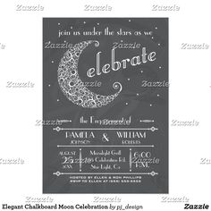 Elegant Chalkboard Moon Celebration Card Celebrate your engagement party or any evening event with this unique lacy moon invitation on a chalkboard background. Elegant yet still casual. Art Deco Feel. Easy to customize with your own text. Other versions available, please check my store. Great for retirement, birthday, engagement, corporate, outdoor, or any celebration event. Original illustration by pj_design.