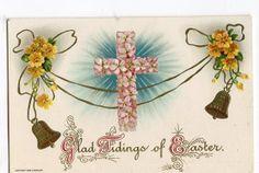 Vintage Easter Postcard with pink flowered by sharonfostervintage, $2.50