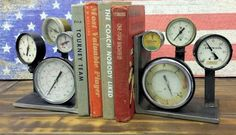 Vintage Pressure Gauge Bookends are hand made, super cool and would look great in lots of settings.