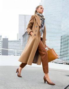 Coat, new wool & cashmere, Leather trousers, nappa lamb, Heels, Scarf, pure wool