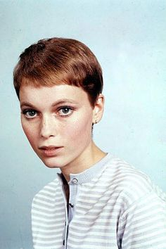 """Mia Farrow in Rosemary's Baby with her Vidal Sassoon cut. Well, she had long hair like most people, but was signed to a movie studio (Rosemary's Baby) & got the TWIGGY look. Her mother played """"Jane"""" in Tarzan movies, & her dad was a big movie director. They made her look as good as she could look. pretty."""