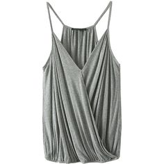 Choies Gray Spaghetti Strap V-neck Ruffle Wrap Cami (42 RON) ❤ liked on Polyvore featuring tops, tanks, shirts, cami, grey, cami shirt, cami tank, wrap shirt, v neck tank top and gray tank top