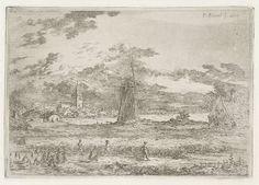Gerardus Emaus de Micault | Korenveld met molen, Gerardus Emaus de Micault, 1859 | Op een akker zijn drie mannen koren aan het maaien, waarna twee vrouwen de halmen in schoven bijeen binden. Op de achtergrond een molen en een dorp.